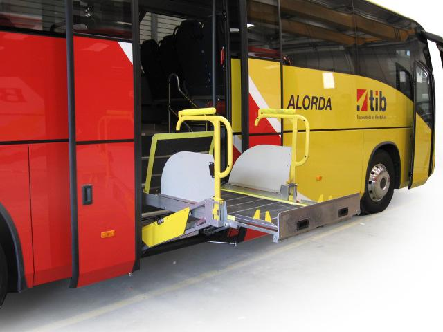 City bus, mid-mounted high floor lift